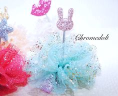 Say Hi pink rabbit to you guys. Hair accessories with sky blue color mesh and gold glitter. This is unique Item cuz of spring inside. so it is shaking when you moving with it.  Very cute and adorable-
