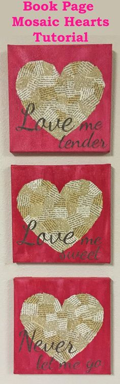 Book Page Mosaic Hearts Tutorial by Reading With Scissors. Quick and easy!