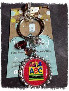 Teacher Crayon Box Theme..... Bottle Cap Keychain, Purse Charm, bag Charm on Etsy, $8.50