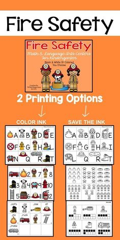 Fire Safety themed math and ELA centers for kindergarten.  Alphabet upper and lower case, beginning sounds, counting, counting on, ten frames and more.  Created by Time 4 Kindergarten.  Visit http://time4kindergarten.com