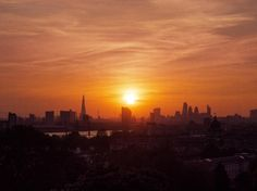 What a sunset! View over London from the Royal Observatory in Greenwich park