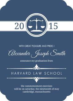 Law School Graduation Party Invitation Summons Pinterest