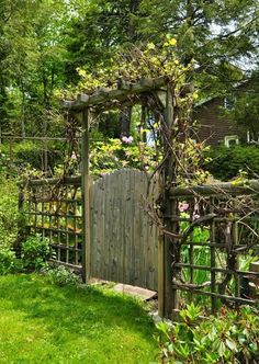The wooden pergola is a good solution to add beauty to your garden. If you are not ready to spend thousands of dollars for building a cozy pergola then you may devise new strategies of trying out something different so that you can re Backyard Gates, Garden Gates And Fencing, Garden Arbor, Backyard Pergola, Pergola Kits, Cheap Pergola, Pergola Ideas, Garden Swings, Wooden Garden Gate
