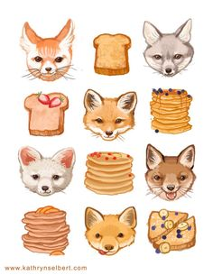 kathryn selbert Fine Art Print - Foxes French Toast and Flapjacks Illustration