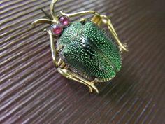 RARE !! VINTAGE ART DECO 30s REAL LUMINOUS GREEN SCARAB W./DIAMONTE EYES BROOCH   eBay, £39.98