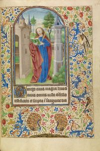 Saint Barbara with a Book and a Martyr's Palm before a Tower, French, about 1466 - 1470 Ms. Ludwig IX 11, fol. 136