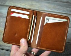 credit card wallet Handmade Slim Credit Card Leather Wallet Gift for Him