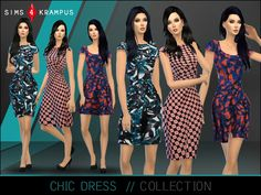 This is a set of 3 stand alone patterned dresses for women. The dresses appear very chic, colorful, and modern.  Found in TSR Category 'Sims 4 Sets'