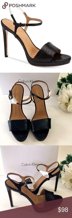 "🌹Calvin Klein sandal🌹 Delicate strap with man made sole, sneak embossed detailing for the elegant look. So comfy 3/4"" platform, heel 4-1/2 "" feels like 3-1/4"". Calvin Klein Shoes Sandals"