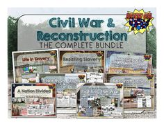 Includes:7 PowerPoint Presentations11 Pages of Student Infographic Style Notes Sheets3 Vocabulary Assignments3 Extension (Reach) AssignmentsCivil War Amazing Race Review GameMajor Battles of the Civil War Fact Cards and MapMapping the Civil WarEvents Leading to the Civil War Fact CardsComparing Sides Civil War Accordion Book Project (Grading Rubric, Instructions, and Examples)BONUS: Who's Who of the Civil War Cut N' Paste ActivityBONUS: Civil War & Reconstruction Unit Word WallBONUS: Eve...