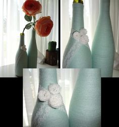 Repurposed Wine Bottles for Pretty Vases :  1- brush glue onto top part of bottle 2- start wrapping bottle with any color yarn you like  3- glue as you go so the glue will not dry 4- keep the yarn taught as you wrap it  5- embellish as needed....I used lace ribbon to wrap around bottle and make little flowers