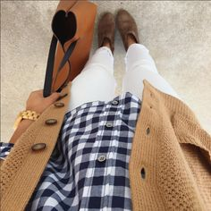 Putting Me Together: New Old Navy Vest $15! + Instagram Outfits. Mustard cardigan, gingham, white jeans, cognac tote, gold watch, brown booties