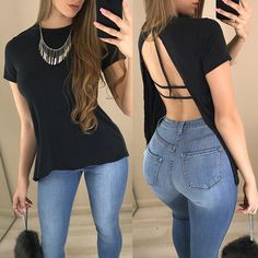Sexy Black Hollow Back T-shirt Classy Outfits, Casual Outfits, Cute Outfits, Dress Over Pants, Love Fashion, Womens Fashion, Couture Tops, Fashion Sewing, Ideias Fashion