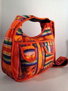 Hobo Messenger Travel Cross Body Hippie Orange Shoulder Handbag Ecuador   Handmade  Boho 3fa0320109491