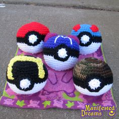 Part of a mini project I'm doing. Making all the balls from Pokemon, one generation at a time.    Gen 1:    Top: Pokeball, Great Ball  Middle: Master Ball  Bottom: Ultra Ball, Safari Ball    Available on request at my shop    http://manifesteddreams.etsy.com