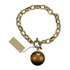 Stephen Dweck Engraved Bronze Links Facet Tiger Eye Drop Authentic Classic New #StephenDweck #Statement