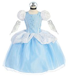This costume is an ode to a classic tale that so many of us love. This Cinderella inspired outfit features the classic puff sleeves, arm covers, and sparkly bodice. Every little girl should experience being a princess and she will feel like one the moment she puts on this adorable costume. This costume is perfect for Halloween, a birthday party, or simply dress up. This costume comes as pictured.
