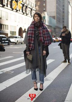 Cozy Plaid Scarves, 2 Ways: Winter Street Style Snaps From New York City Cold weather dressing: Plaid oversized scarf and blanket coat over a leather moto jacket<br> Fashion Weeks, Fashion Mode, Womens Fashion, Fashion Trends, Street Fashion, Jeans Fashion, Fashion Shoes, Girl Fashion, Street Style Chic