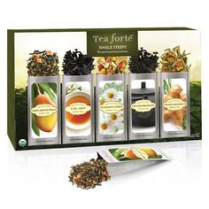 Tea Forté Classic SINGLE STEEPS Loose Tea Sampler, 15 Single Serve Pouches - Green Tea, Herbal Tea, Black Tea >>> You can get additional details at the image link. (This is an affiliate link) #TeaSamplers