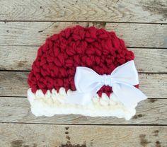 Newborn Christmas Hat- Holiday Prop Hats- Christmas Baby Girl Hat- Crochet Newborn Hats- Baby Girl Christmas Prop Hats- Satin Bow