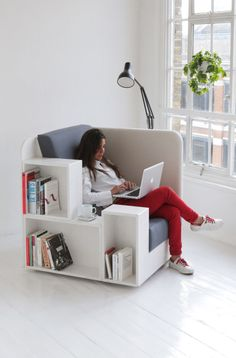 London-based design studio TILT (the makers of the cocoon-like chair and booth) designed a seat that celebrates the printed form. The OpenBook chair features multiple shelves on one side for books of different shapes and sizes, along with space on the other for hanging magazines or newspapers.