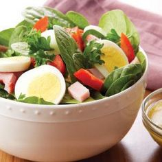 Spinach Salad with Ham & Egg @keyingredient #quick