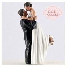 True Romance Bride and Groom Custom Hair Wedding Cake Top #wedding #caketop #daisydays