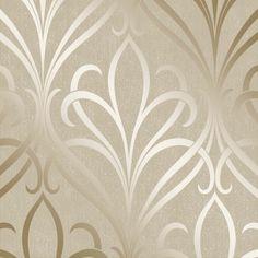 Camden Damask Wallpaper Cream, Gold (H980532)
