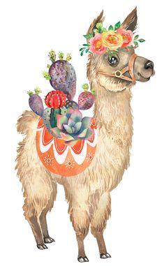 Llama Clipart, Cactus Clipart, Watercolor Print, Watercolor Paintings, Llama Pictures, Llama Arts, Animal Cutouts, Cute Christmas Wallpaper, Cute Llama