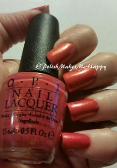 Hawaii Collection by OPI (2015). OoooLaLa!  They are gorgeous, all of them!!!! GREAT polishes. All with a GREAT formula.  Easy application.  I loved wearing each of them!!  This is Go With The Lava Flow #OPI #notd #prettynails #hawaii2015