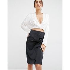 Kendall + Kylie Surplice Hi-Lo Shirt (£78) ❤ liked on Polyvore featuring tops, white, shirt tops, surplice top, plunging v neck top, wrap front top and v neck shirt