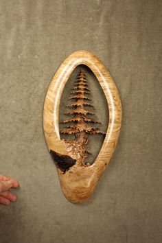 """""""Stand Alone Pine"""" a Maple Burl Wood Carving by Gary """"Wiz"""" Burns the treewiz"""