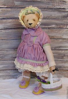Купить Виола - бледно-сиреневый, мишка, тедди, винтаж, коллекционный мишка, шебби-шик, прованс