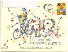 Creative, colorful lettering for addressing mail art Calligraphy Envelope, Envelope Art, Envelope Design, Envelope Addressing, Envelope Lettering, Creative Lettering, Hand Lettering, Lettering Ideas, Mail Art Envelopes