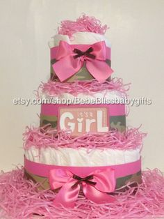 Pampered With A Pink Camo Diaper Cake by BebeBlissbabygifts on Etsy