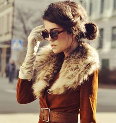 Mira Berglind (365 Days) - Vintage coat, Hestra gloves, and JC sunglasses.