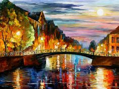 Original Recreation Oil Painting on Canvas This is the best possible quality of recreation made by Leonid Afremov in person.  Title: St. Petersburg Size: 40 x 30 (100cm x 75cm) Condition: Excellent Brand new Gallery Estimated Value: $ 8,500 Type: Original Recreation Oil Painting on Canvas by Palette Knife  This is a recreation of a piece which was already sold.  Its not an identical copy, its a recreation of an old subject. This recreation will have texture unique just to this painting, a…