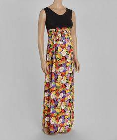 Look what I found on #zulily! Black Floral Maternity Maxi Dress - Plus Too #zulilyfinds