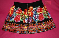 Pure Energy Ebony Bright Floral Skater Skirt with Zipper 14 16 | eBay