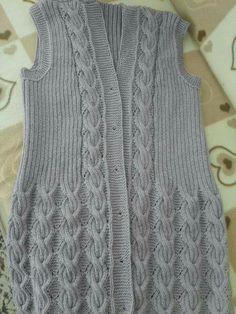 Yelek Knitting Designs, Knitting Patterns Free, Knit Patterns, Baby Knitting, Knit Baby Dress, Knitted Baby Clothes, Baby Cardigan, Knit Vest Pattern, Knit Crochet