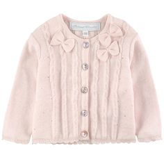 Cotton and angora knit Crew neck Long sleeves Fancy buttons Fancy bows - 80,00 €