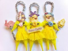 Three Cute Chicks! Vintage-Look Chenille Pipe Cleaner  Ornament  * Chenille Stem DIY Inspiration • Design could be altered for lots of holidays!
