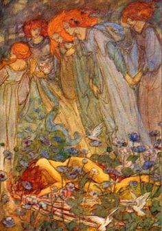 """Florence Harrison, Dream Love (c. 1910), illustration for Christina Rossetti's poem """"Dream Love"""""""