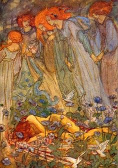"Dream Love (c. 1910) - Emma Florence Harrison (illustration to Christina Rossetti's poem ""Dream Love,"" 1854)"
