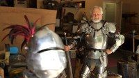 """Instead of a wide screen TV, this doctor's """"man cave"""" is filled with suits of armor."""