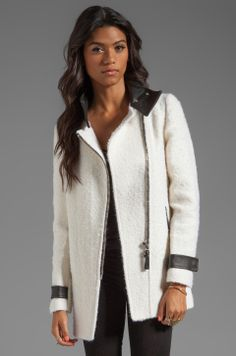 Mackage | Kitty Novelty Boucle Wool Coat in Off White