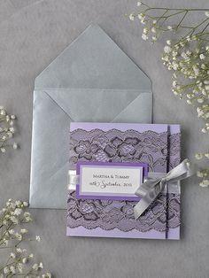 Grey Lace Wedding Invitation Pocket Fold Wedding by DecorisWedding, $6.60