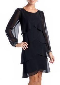 Sl Fashions Women's Beaded Trim Tulip Tiered Dress - Black - 10