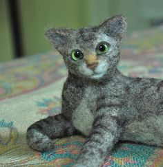 Camille, the needle felted cat by Helen Rogers