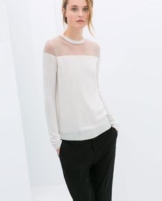 {SWEATER WITH SHEER SHOULDERS from Zara in off-white - under $100}